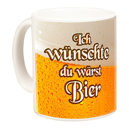 Geschenke 24: Becher - Wish You were Beer (Spruch Ich wünschte du wärst Bier) - personalisierte Tasse in Bier-Optik mit Wunschname