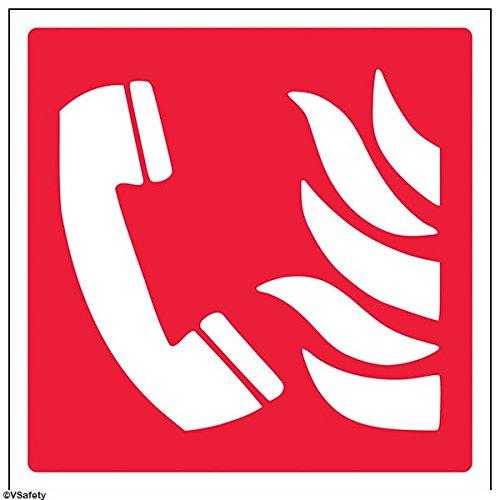 Preisvergleich Produktbild vsafety 13014am-s Fire Equipment Zeichen, Fire Phone Logo, selbstklebend, quadratisch, 150mm x 150mm, rot