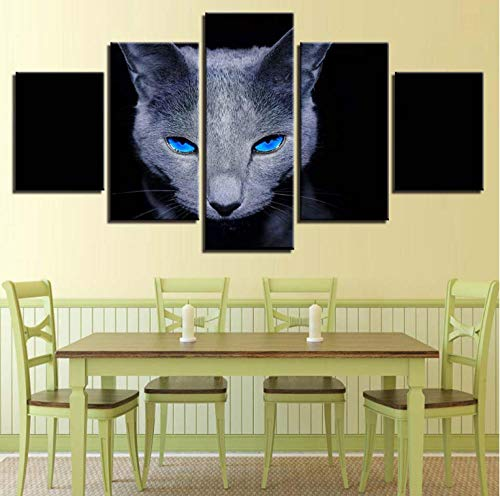 Leinwandbild wohnzimmer dekoration HD druckplakat 5 stücke tier blauen augen graue katze malerei wandkunst