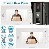 "KKmoon 7"" Monitor Timbre Video Portero Interfono Intercom (Cámara de Vigilancia, Desbloqueo Remoto, Pantalla TFT LCD, Visión Nocturna, Seguridad Kit)"