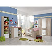 Preisvergleich für Babyzimmer Nicki komplett Sets verschiedene Ausführungen (Babyzimmer Nicki 7tlg. 3türiger Schrank, Eiche Sägerau/Weiß)