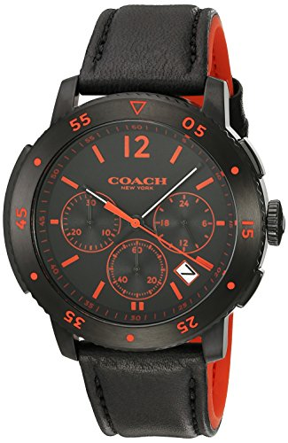 COACH MEN'S 46MM BLACK SYNTHETIC LEATHER BAND STEEL CASE QUARTZ WATCH 14602024