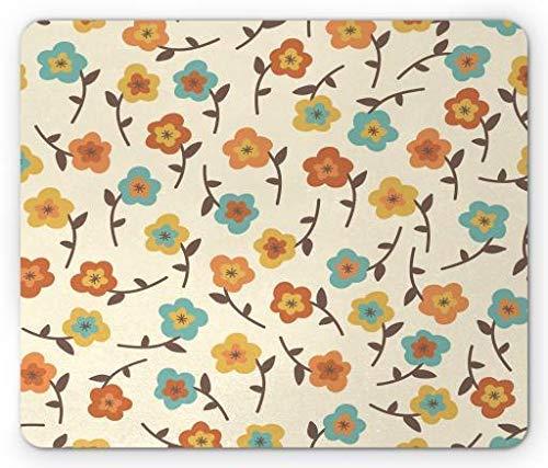 Pad, Romantic Arrangement of Flower Blossom Ornate Coming of The Spring Design Doodle, Standard Size Rectangle Non-Slip Rubber Mousepad, Multicolor ()