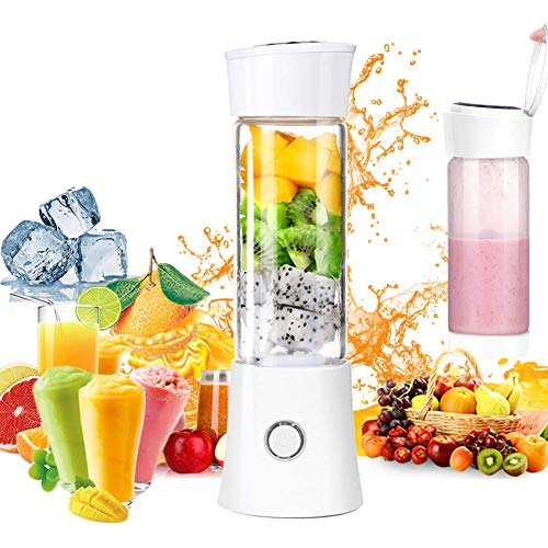 L.tsn Coupe Mini-centrifugeuse Mélangeur Portable Ménage Smoothie Personnel Blender, Mixeur De Jus Fruits 480ml avec USB Rechargeable Et 6lames en Acier Inoxydable pour La Maison Plein Air, White
