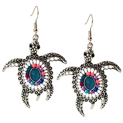 Geralin Gioielli Damen Ohrringe Schildkröte Ohrhänger Silber Jade Maori Fashion Vintage