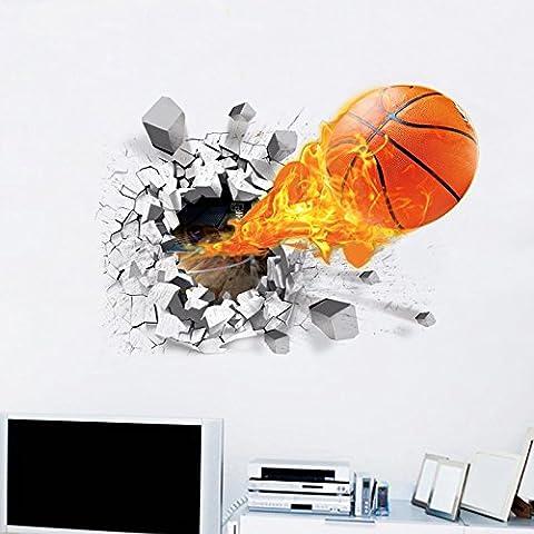 ANPI 3D Basketball Wandaufkleber, 3D Selbstklebende abnehmbare Pause durch die Wand Vinyl Wandaufkleber Wandgemälde Art Decals Dekorateur Flying Fire Basketball