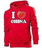 I Love China Fussball Fanhoodie Männer Herren Hoodie Pulli Kapuzen Pullover Fanartikel