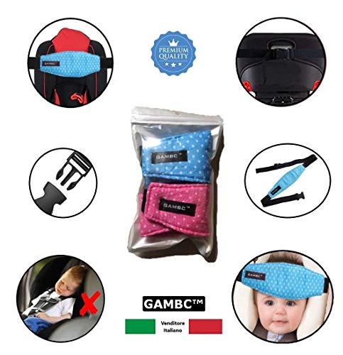 [2 pz ] reggitesta per seggiolino auto per bambino e neonato - gambc® - 2a generazione con elastico e fibia di regolazione - imbottito e universale - cinturino supporto per testa bambini neonati