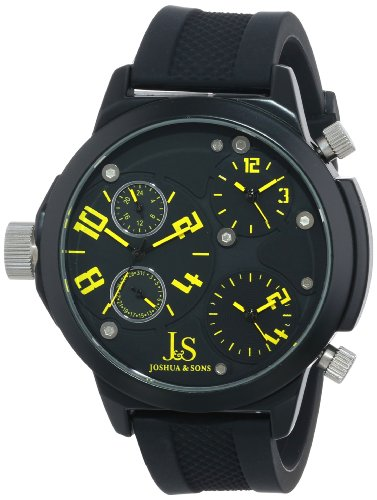 Joshua & Sons Men's JS-40-YL Quartz Triple Time-Zone Watch with Rubber Strap