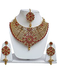 Lucky Jewellery Designer Golden Red Color Stone Necklace Set For Girls & Women