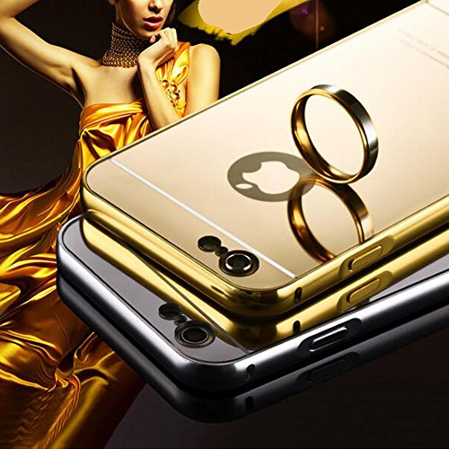 Hibote NEW Luxury Aluminiumrahmen Ultra Slim Fit Spiegel Metallkasten-Abdeckung für Apple iPhone 6S Schwarz schwarz