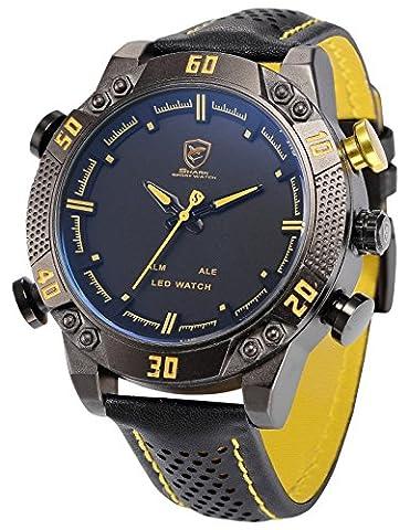 Shark Men's LED Date Day Alarm Digital Analog Quartz Sport Black Leather Band Wrist Watch SH263 Yellow