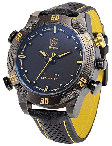 Shark SH263 Montre Homme LED/Date/ Alarm Digital Analogique Bracelet en Cuir