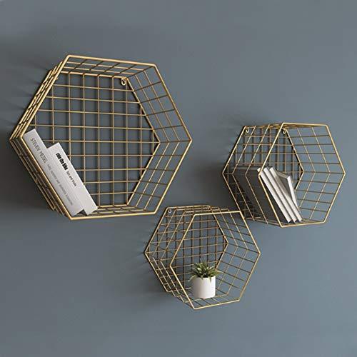 Yqq-mensola scaffale esagonale in metallo multi-function galleggiante mensole galleggianti fissate al muro ferro staffe per appendere a parete decorazioni d'arte