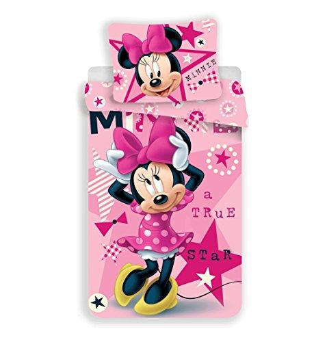 Jerry Fabrics Minnie True Star Mickey & Friends CharacterKinderBettwäsche mit ReißverschlussBettbezug 140 x 200 cm und Kissenbezug 70 x 90 cm, Baumwolle, Multicolored, 200 x 140 x 0.5 cm