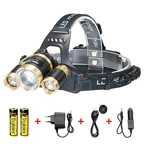 Led Stirnlampe Kopflampe,HiWild T6 5000 Lumen Wasserdicht3 Stück XM-L XPE LED Super Helle 4 Modi aus Aluminium als Arbeits-Licht Fahrradleuchte Taschenlampe für Camping Wanderungen Jagd und mehr