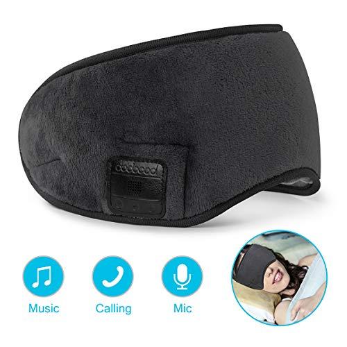 dodocool Schlafmaske, Bluetooth Musik Augenmaske Stereo Sound Travel Sleeping Augenmaske mit Verstellbarem Band Hands-Free Schlafkopfhörer Nachtmaske integrierter Lautsprecher Mikrofon waschbar (Band-mikrofon)