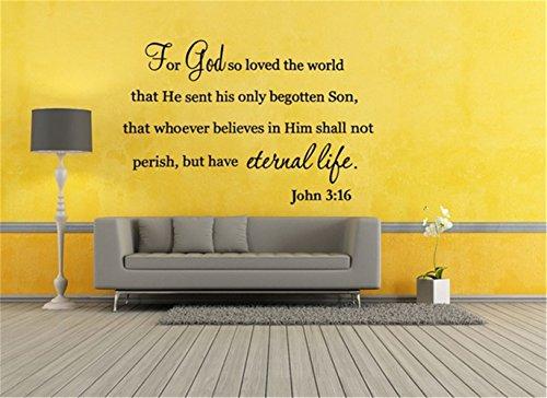Buchstaben Wandaufkleber Bibel-Verse Christian John 3:16 für Gott liebte die Welt ewiges Leben Decal Home Decor Zitate Kunst Dekor