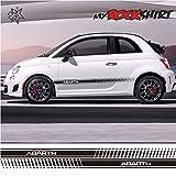 Abarth 2 Rennstreifen Fiat Aufkleber Autoaufkleber Auto Tuning Sticker Aufkleber mit Montage Set inkl.