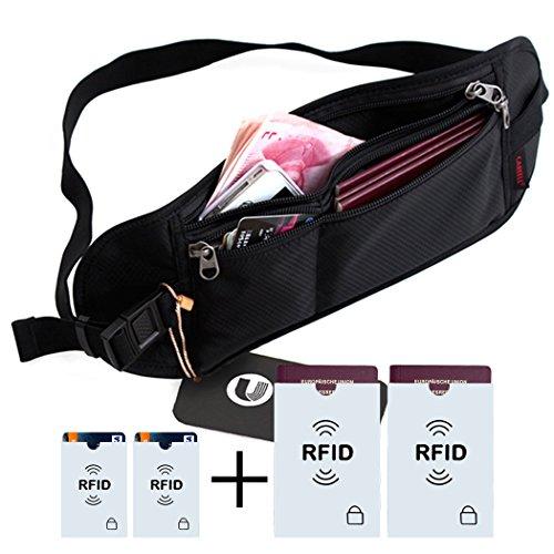 Borse da viaggio, 4 pezzi casi RFID Card, SELVAGGIO ® viaggiare tag bagagli tasca anteriore per i viaggi-o lo sport / protezione del passaporto, denaro e carta di credito (nero)