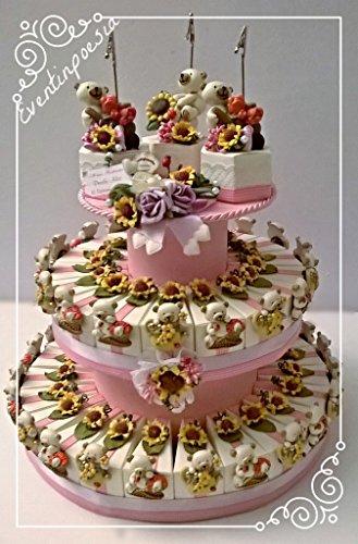 Preisvergleich Produktbild Torte Gastgeschenk Bomboniere 40mit Magnete mit Konfetti und Kärtchen