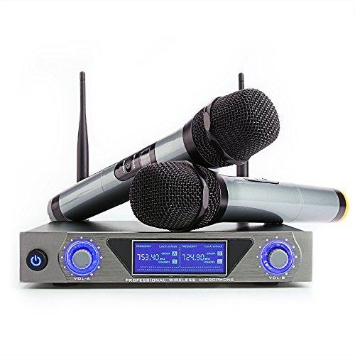 Wireless Mikrofon, UHF Funkmikrofon set Mikrofon System Karaoke Mikrofon Professional Dual 2 Handmikrofon Set Drahtloses Mikrofonsystem mit LCD Display für Outdoor Hochzeit, Konferenz, Karaoke usw.
