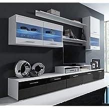 Muebles Bonitos – Mueble de salón Claudia modelo 1 negro y blanco (2,5m)