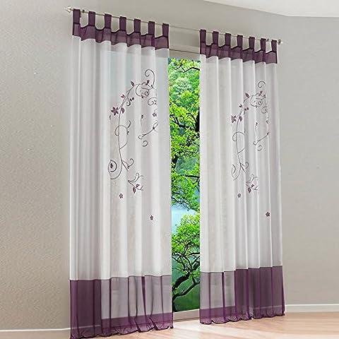 dairyshop Pastoral bestickter Voile Nähte Tab Top Kunstseide Fenster Vorhang