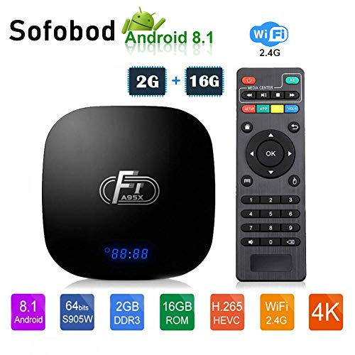 Sofobod A95X F1 Android TV Box 2GB 16GB Android 8.1 Amlogic Octo-core 2.4GHz WiFi 4K(EINWEG)