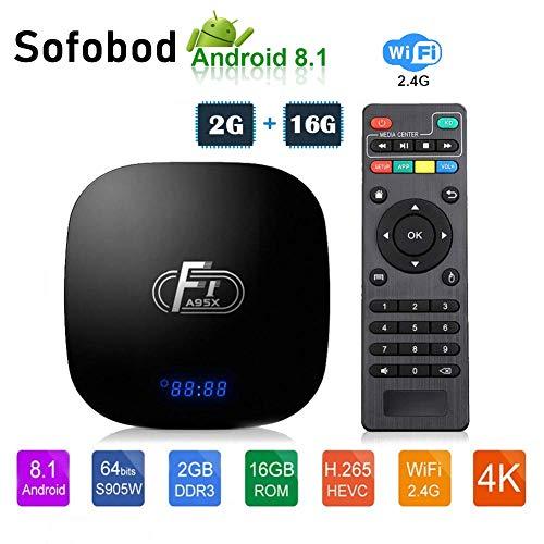 Sofobod TV Box Android 8.1 TV Box 2GB RAM+16GB ROM 4K TV S905W Quad Core H.265 Decoding 2.4GHz WiFi HDMI BT4.1 - Model No.: A95X F1