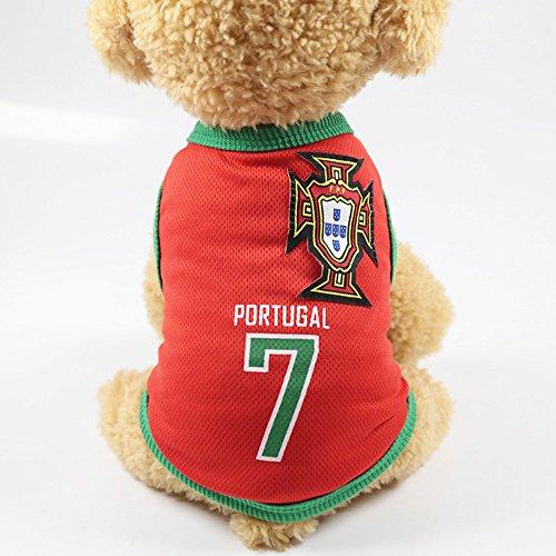Naisidier Souvenir de la Coupe Du Monde 2018 Weste Pet Jacke mit Dem Logo von Pays für die Fan des Football Pet Clothe Kostüm Katzen, Portugal 1 - Veste Kostüm
