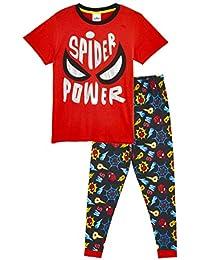 Marvel Spiderman Pijama Niño Invierno, Pijamas Niños con Estampado Spiderman, Pijama Dos Piezas Camiseta Manga Corta y Pantalones Largos, Regalos para Niños Niñas 3-8 Años
