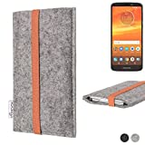 flat.design Handy Hülle Coimbra für Motorola Moto E5 Plus Dual-SIM - Schutz Case Tasche Filz Made in Germany hellgrau orange