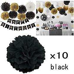 10 pompones para Boda en tonos negros. Más colores a elegir.