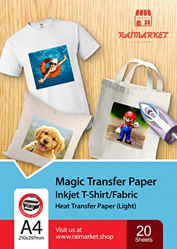 Transferpapier Bügelpapier für leichtes Gewebe (magisches Papier) von Raimarket | 20 Blatt | A4 Inkjet Bügeleisen auf Papier / Transferfolie / T-Shirt-transfers | Textilefolien | DIY Stoffdruck |20