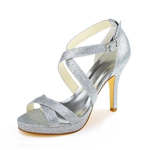 58e3dec3c56c27 Jia Jia Wedding 37059 chaussures de mariée mariage Escarpins pour femme  Argent