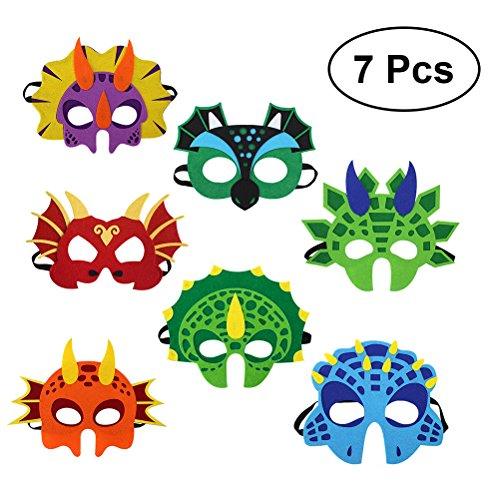 Toyvian Dinosaurier Masken Filz Kinder Party Dekorationen Kostüm Zubehör 7 PCS