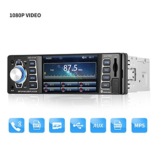ICOCO Bluetooth Autoradio, 4.1 inch 1080P MP5-Player, Audio Empfänger/MP3/MP4/AM/FM/USB/SD/MMC/WMA mit Fernbedienung