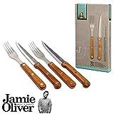 Jamie Oliver 4-teiliges Grill-Set/Steakbesteck aus Steakmesser und Gabel