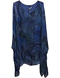 b2ce585271 Ladies Womens Italian Lagenlook New Big Tropical Print Silk Flowy Batwing  Tunic Top Blouse One Size