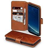 Coque Galaxy S8 Plus, étui pare-chocs Housse en cuir véritable avec fonction de support arrière pour Samsung Galaxy S8 Plus étui en cuir, Couleur: Cognac