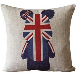 Bandera británica y oso ensangrentada arpillera cojín cojines decorativos magmle 45,72 cm
