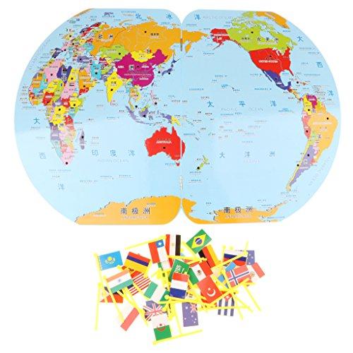 Perfeclan Juguete Montessori de Madera Mapa de Mundo con Banderas Herramienta de Enseñanza Preescolar para Niños Niñas