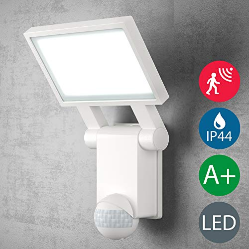 LED Außenwandstrahler   Strahler   Außenleuchte   Wandleuchte   Wandstrahler in weiß, Bewegungsmelder, Dämmerungssensor, inkl. 20W LED Platine 2000 lumen   Fluter   Außenwandleuchte