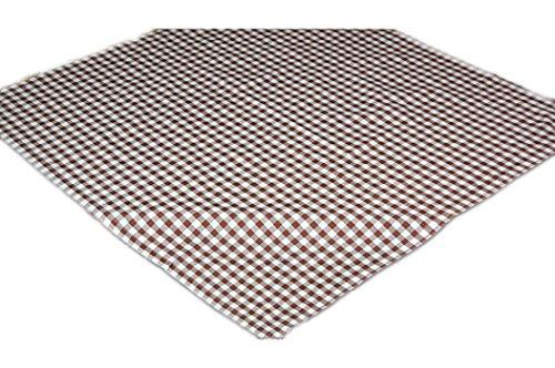 Zeitlose Tischdecke 110x110 cm Polyester Mitteldecke BRAUN weiß KARIERT für Garten Balkon Küche Esszimmer rustikales Landhaus (Mitteldecke 110x110 cm quadratisch)