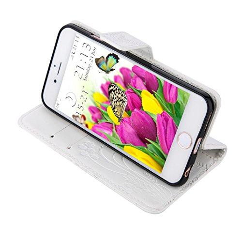 iPhone SE Flip Cover, iPhone 5 Handyhülle, iPhone 5S Case,Moon mood® Flip Case Brieftasche für Apple iPhone 5/5S/SE (4.0 Zoll) ,PU Leder Hülle Wallet Case Folio Schutzhülle Scratch Design Bumper Handy 1-Weiß
