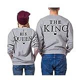 Juleya Sweat-Shirt Assorti de Couple - King Queen Letter Print Pull Tops Saint-Valentin Cadeau