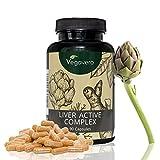 Liver Active Complex | Suplemento Hígado: Detox + Colesterol | Alcachofa + Cúrcuma + Diente de León + Achicoria + Colina | SIN ADITIVOS | 90 Cápsulas | Testado en Laboratorio | Vegano | Vegavero