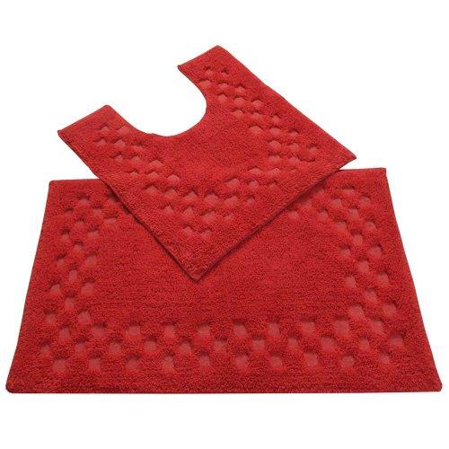 homescapes-bordo-con-motivo-a-quadri-set-2-tappetini-da-bagno-colore-rosso-100-morbido-cotone-120-gs