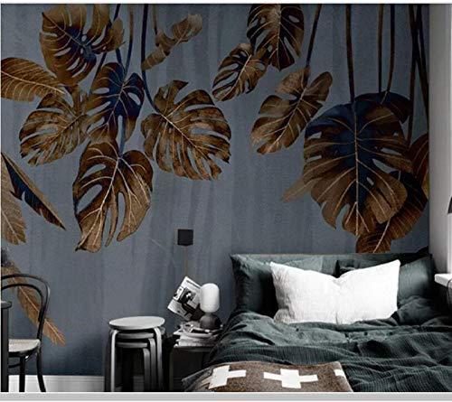 Wandbilder Abstrakte botanische Blätter Vintage 3d Tapete Wohnzimmer TV Sofa Wand Schlafzimmer Tapeten Wohnkultur Restaurant Bar Wandbild @ Seide Stoff Wandbild 450x300cm -